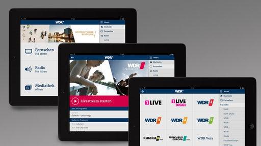 Mit der WDR App live Radio hören und Fernsehen schauen