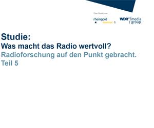 Die Studie zeigt auf, woran individuelle Werte und Werthaltigkeit beim Medium Radio festgemacht werden. Ein zentrales Ergebnis ist, dass Radio in Zeiten der medialen Reizüberflutung ein Gefühl der Stabilität und Kontinuität im Alltag vermittelt.